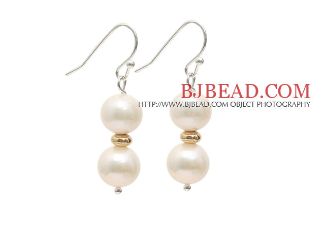 A Grade 9-10mm Natural White Freshwater Pearl Beaded Earrings with Golden Color Metal Beads