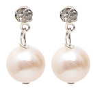 Fashion Style 9-10mm Natural White Freshwater Pearl Studs Earrings with Rhinestone under $ 40