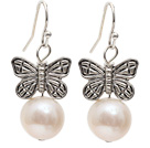 Simple Style 10-11mm Natural White Freshwater Pearl Earrings with Tibet Silver Butterfly Accessories under $ 40
