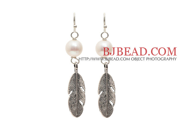 A Grade Natural White Freshwater Pearl Earrings with Tibet Silver Feather Accessories
