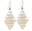 Rhombus Shape Natural 4-5mm White Freshwater Pearl Earrings with Fish Hook