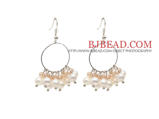 Fashion Style Natural White Freshwater Pearl Crystal Hoop Earrings