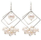 Rhombus Shape Natural White Freshwater Pearl Earrings with Fish Hook