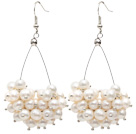 Triangle Shape Natural 5-6mm White Freshwater Pearl Cluster Earrings