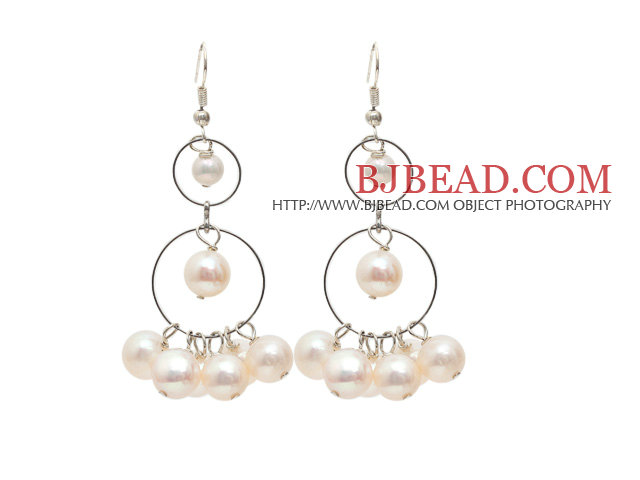 Long Style Natural White Freshwater Pearl Dangle Earrings with Fish Hook