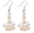 Natural White 5-6mm White Freshwater Pearl Dangle Earrings