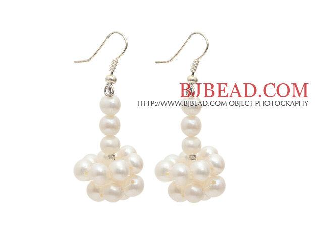 Natural White 5-6mm White Freshwater Pearl Dangle Earrings