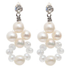 Fashion Style Natural White Freshwater Pearl and Clear Crystal Stud Earrings