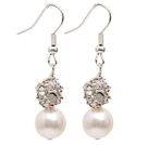 Fashion Style 9-10mm Natural White Freshwater Pearl Dangle Earrings with Rhinestone Ball under $ 40