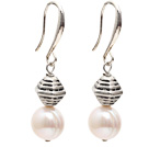 Fashion Style 10-11mm Natural White Freshwater Pearl Earrings with Tibet Silver Accessories under $ 40