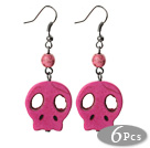6 Pairs Simple Style Dyed Hot Pink Turquoise Skull Earrings with Fish Hooks