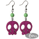 6 Pairs Simple Style Dyed Purple Turquoise Skull Earrings with Fish Hooks