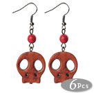6 Pairs Simple Style Dyed Redish Brown Turquoise Skull Earrings with Fish Hooks
