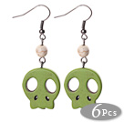 6 Pairs Simple Style Dyed Grass Green Color Turquoise Skull Earrings with Fish Hooks