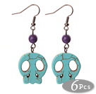 6 Pairs Simple Style Green Turquoise Skull Earrings with Fish Hooks