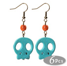 6 Pairs Simple Style Dyed Blue Color Turquoise Skull Earrings with Fish Hooks