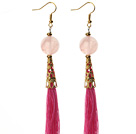 China Style Rose Quartz and Hot Pink Thread Tassel Long Dangle Earrings
