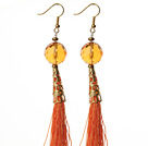 China Style Faceted Melting Citrine and Orange Red Thread Tassel Long Dangle Earrings
