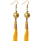 China Style Golden Color Seashell and Yellow Thread Tassel Long Dangle Earrings