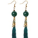 China Style Round Green Agate and Green Thread Tassel Long Dangle Earrings