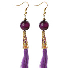 China Style Faceted Purple Agate and Purple Thread Tassel Long Dangle Earrings