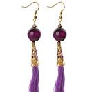 China Style Facet Purple Agaat en Purple Thread Tassel Lange Oorhangers