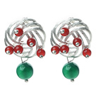 Fashion Style Green Agate and Carnelian Studs Earrings