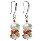 2013 Christmas Design White Freshwater Pearl Christmas Snowman Shape Earrings