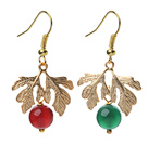 2014 Christmas Design Green Agate and Carnelian Earrings with Golden Color Tree Shape Accessories