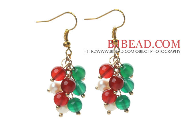 2014 Christmas Design 5-6mm White Pearl and Green Agate and Carnelian Earrings
