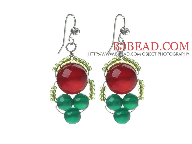 2014 Christmas Design Green Agate and Carnelian Earrings with Rhinestone Hook