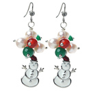 2013 Christmas Design White Pearl and Green Agate and Carnelian and Santa Claus Earrings