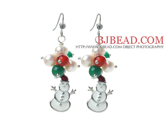 2014 Christmas Design White Pearl and Green Agate and Carnelian and Santa Claus Earrings