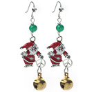 2013 Christmas Design Green Agate and Bell and Santa Claus Charm Earrings