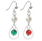 Fashion Style White Freshwater Pearl and Carnelian and Green Agate Dangle Earrings under $ 40
