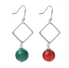 Fashion Design Simple Style Green Agate and Carnelian Dangle Earrings under $ 40