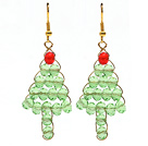 2013 Christmas Design Green Crystal Wire Wrapped Christmas Tree Shape Earrings