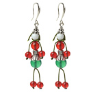 2014 Christmas Design Human-shaped Green Agate and Carnelian Charm Earrings