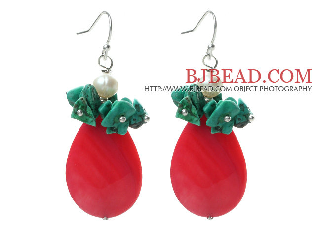 New Design Hot Pink Drop Shape Shell and Turquoise Chips and Pearl Earrings
