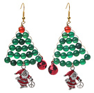 2014 Christmas Design Green Agate and Carnelian and Santa Claus Earrings