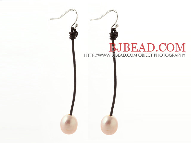 Simple Style 10-11mm Pink Freshwater Pearl and Brown Leather Dangle Earrings