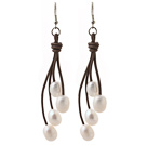 Elegant Style 10-11mm White Freshwater Pearl and Brown Leather Dangle Earrings