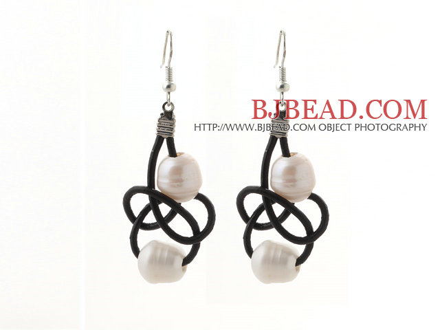 Elegant Style 10-11mm White Freshwater Pearl and Black Leather Earrings
