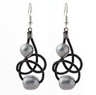 Elegant Style 10-11mm Gray Freshwater Pearl and Black Leather Earrings