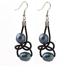 Elegant Style 10-11mm Black Freshwater Pearl and Black Leather Earrings