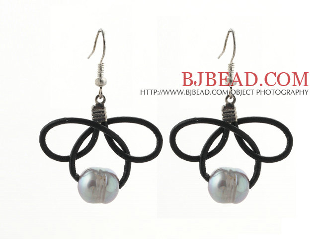 Fashion Style 10-11mm Gray Freshwater Pearl and Black Leather Earrings