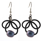Fashion Style 10-11mm Black Freshwater Pearl Black Leather Earrings