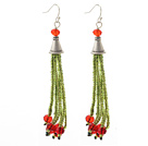 2013 Christmas Design Green Glass Beads and Red Crystal Tassel Dangle Earrings