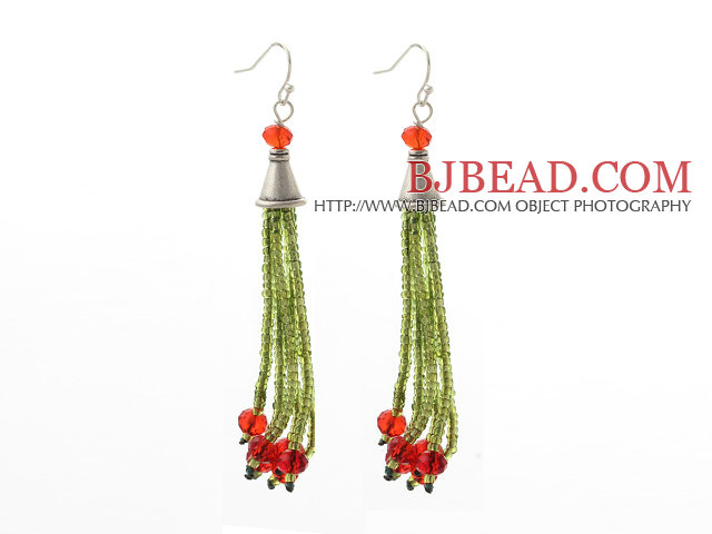 2014 Christmas Design Green Glass Beads and Red Crystal Tassel Dangle Earrings