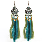 New Design Green and Blue Style Pearl Crystal Tassel Dangle Earrings